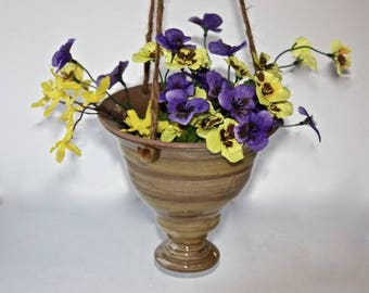 Ceramic  Hanging Planter in Stoneware about  Seven Inches Wide by Six 1/2 Inches Tall Earthen Colors, One of a Kind