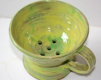 Yellow Green  Berry Colander Hand Thrown Stoneware Holds about One Pint of Berries