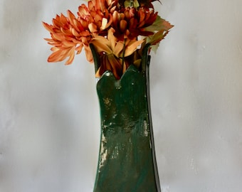 Dark Green  Vase Art Pottery Woodland Style Hand Built Sculptural  Glazed Stoneware