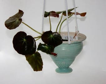Ceramic  Hanging Planter in Mat Aqua Glaze Stoneware about Six by Six For Succulents, Herbs  or Trailing Plants.
