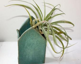 Air plant Holder Bud Vase in Mat Aqua Stoneware Hand Built Art Sculpture OOAK Woodland Leaf Shapes