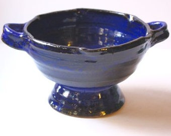 Cobalt Blue Berry Colander also For  Pasta for two  Hand thrown and assembled in Stoneware