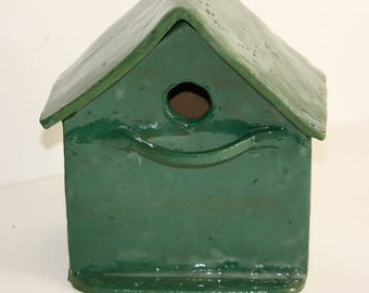 Stoneware birdhouse One of a Kind Green