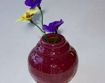 Purple stoneware bud vase with subtle abstract leaf shapes carved in surface  OOAK