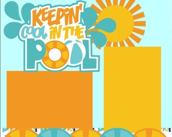 Scrapbook Page Kit Summer/Pool Premade Scrapbook Pages 2-page 12X12 Scrapbook Page Kit or Premade Layout