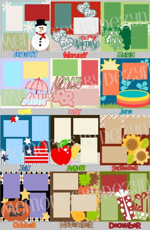 Scrapbook Page Kit Or Premade Layout 12x12 Scrapbook Calendar Etsy