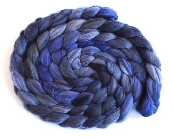 Merino/ Silk Roving (Top) - Handpainted Spinning or Felting Fiber, Dusk Violet