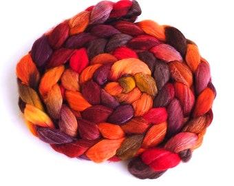 Merino/ Silk Roving (Top) - Handpainted Spinning or Felting Fiber, Maple Leaf Rag