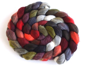 Rambouillet Wool Hand Spinner's Roving - Hand Painted Colorway, First Light, Last Light