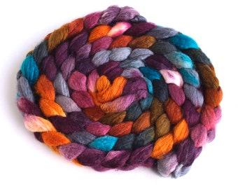 BFL/Silk Roving - Handpainted Spinning or Felting Fiber, Heart of Wood