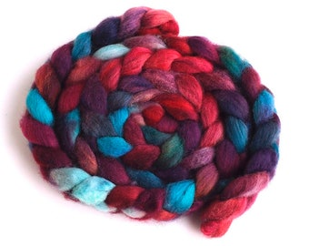 Falkland Wool Roving - Hand Dyed Spinning and Felting Fiber, Combustible