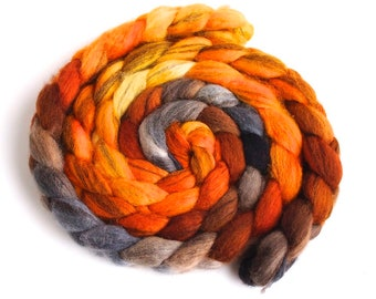 Mixed BFL Wool Roving, Hand Painted Spinning or Felting Fiber, Fire Pit