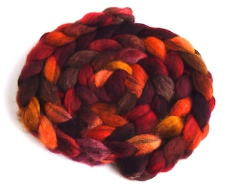 Mixed BFL Wool Roving, Hand Painted Spinning or Felting Fiber, Maple Leaf Rag