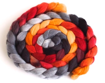Organic Polwarth Roving - Hand Painted Spinning Fiber, Charcoal and Maple