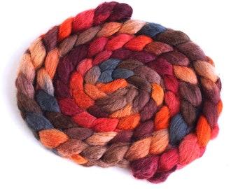 Mixed BFL/Silk Roving - Handpainted Spinning or Felting Fiber, Pumpkin and Persimmon