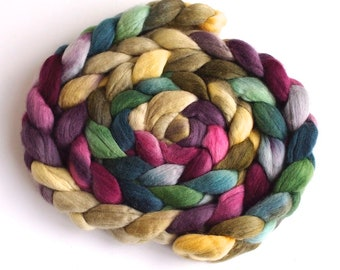 Finn Wool Hand Spinning Roving, Hand Painted Colorway, Spring Wash