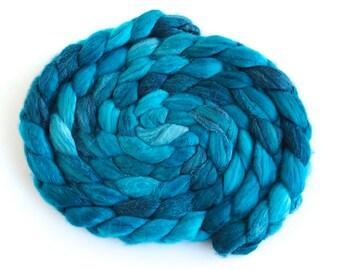 Merino/ Silk Roving (Top) - Handpainted Spinning or Felting Fiber, Mizzle