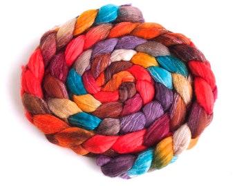 Superfine Merino/ Silk Roving (Top) - Handpainted Spinning or Felting Fiber, Festival Day