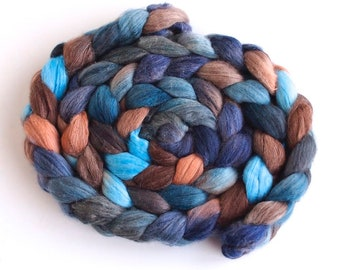 Organic Polwarth/Cultivated Silk Roving - Hand Spinning or Felting Fiber, Dirt and Sky