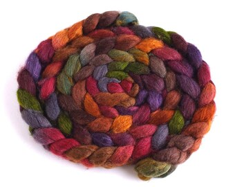 Mixed BFL/Silk Roving - Handpainted Spinning or Felting Fiber, Gilded Complements