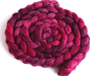 Merino/ Silk Roving (Top) - Handpainted Spinning or Felting Fiber, Dark Sweet Cherries