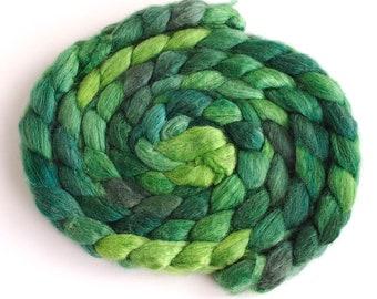 BFL/Silk Roving - Handpainted Spinning or Felting Fiber, Green Gallery