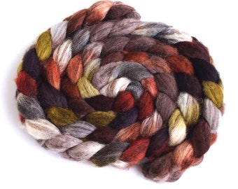 Mixed BFL Wool Roving, Hand Painted Spinning or Felting Fiber, Corduroys with Boots