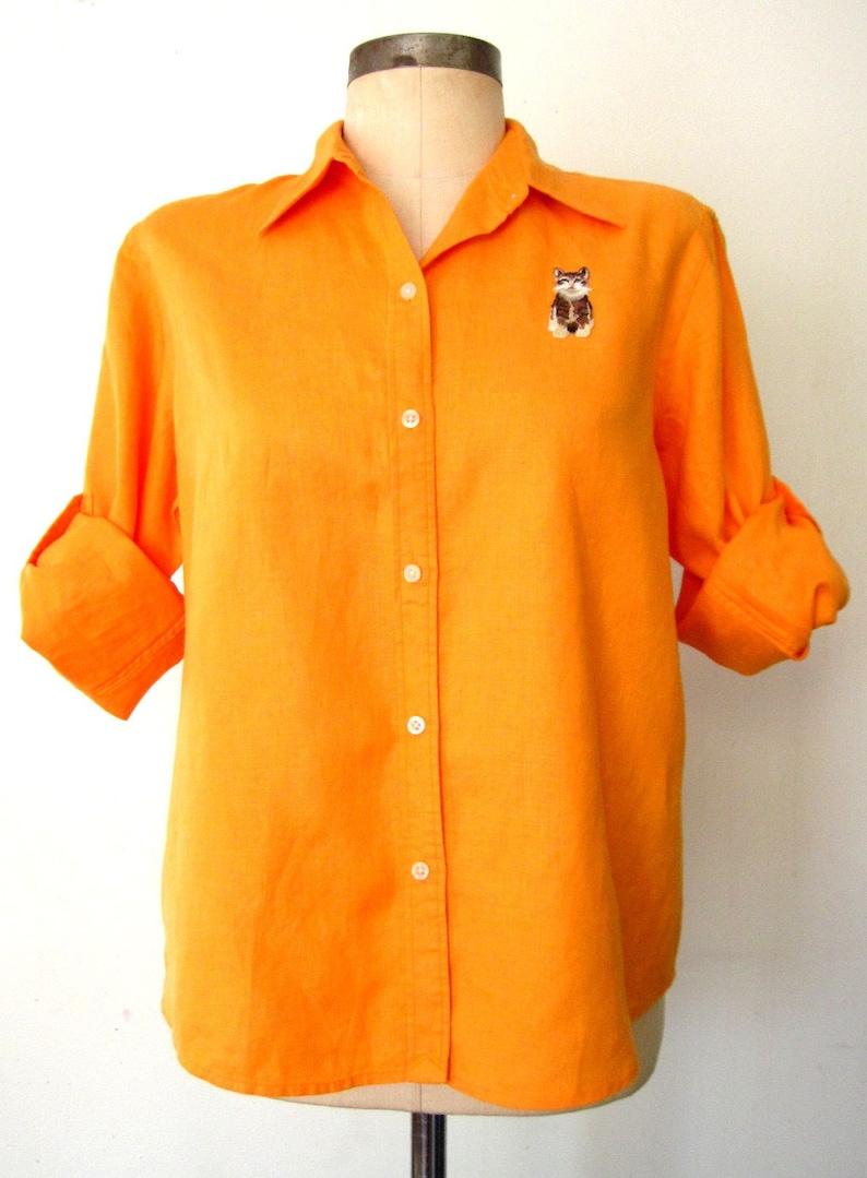 80s / 90s Linen Shirt / Bright Goldenrod Linen Shirt / image 0