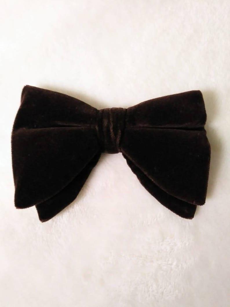 Vintage 60s Men's Chocolate Brown Velvet Bow Tie Bowtie image 0