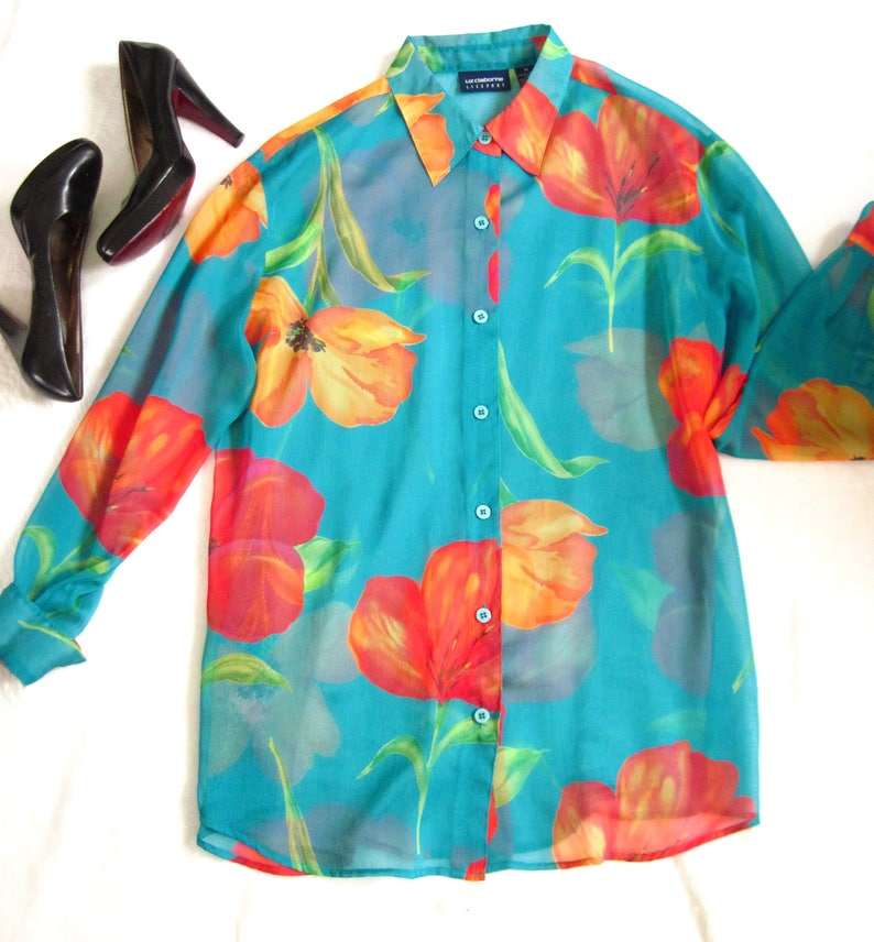 90s Sheer Floral Blouse / 1990s Sheer Spring Blouse / BRIGHT image 0