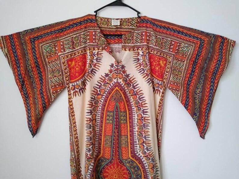 1970s Dashiki Dress / Bohemian 70s Maxi Boho Dress image 0