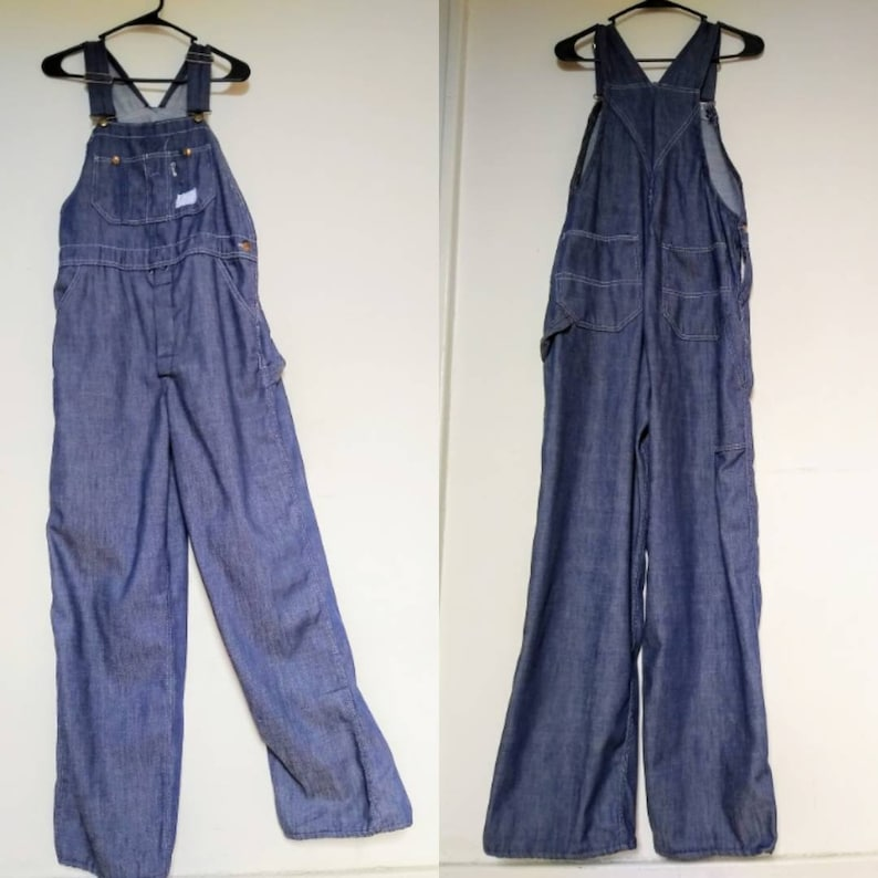 1950s/1969s UNION MADE Sears Blue Jean Overalls /Vintage Denim image 0