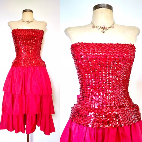 80s Sequins & Ruffles Valentine Party Dress