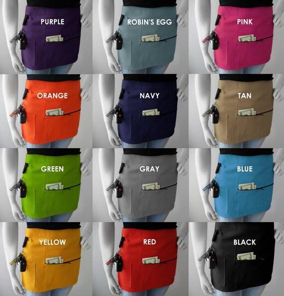 purple six pocket apron Vendor or server apron farmers market apron blue gray