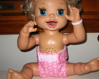 Reusable Baby Alive Doll Diaper /Wipe-Fits Baby Alive Cabbage Patch, Bitty Baby, American Girl, Reborn Dolls and More.
