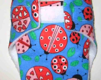 Baby Doll Diaper/Wipe-Large Ladybugs-Fits Bitty Baby, Baby Alive, Cabbage Patch, American Girl Dolls and More