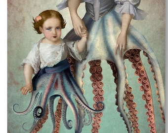 Octopus Siren Mermaid Nautical Portrait Blue Pink Print Digital Art Surreal Home Decor Beach House Squid Lovecraft Governess