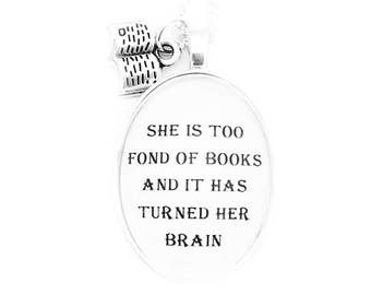 Fond of Books Little Women Pendant Necklace Louisa May Alcott Quote Black and White