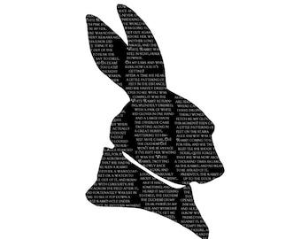 White Rabbit Alice In Wonderland Silhouette Print Black and White Lewis Carroll Quote Literature