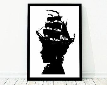 The Captain's Wife Extra Large Nautical Silhouette Poster Print Pirate Ship Black and White Beach House Decor