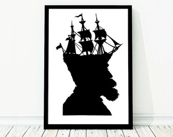 The Captain Extra Large Nautical Silhouette Poster Print Pirate Ship Black and White Beach House Decor