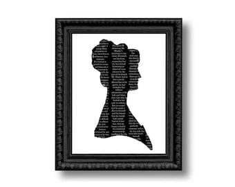 Pride And Prejudice Elizabeth Bennet Silhouette Print Black and White Jane Austen