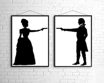 The Duel Silhouette Print Set Black and White Victorian Steampunk