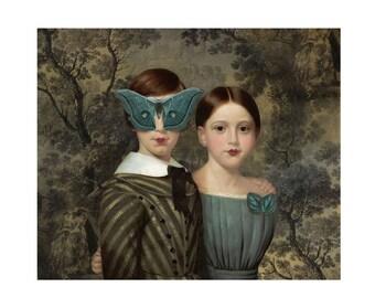 Blue Moth Butterfly Print Digital Art Blue Grey Surreal Home Decor