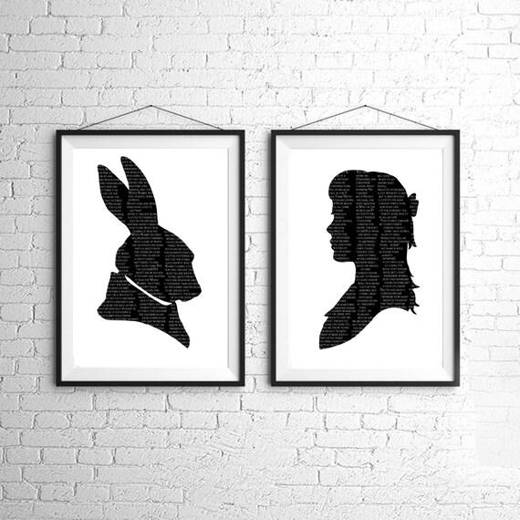 Alice In Wonderland The White Rabbit Silhouette Large Print