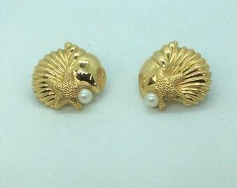 Gold Tone Seashells Starfish Faux Pearl Pierced Earrings Avon Vintage Beach Nautical