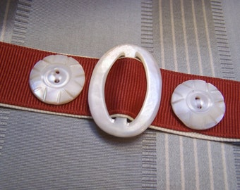 Ribbon Vintage Button and Buckle Wristlet