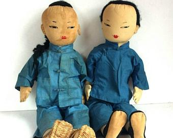 PAIR Vintage Ada Lum Chinese Cloth Farmer Dolls Mid Century