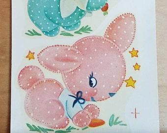 Vintage Duro Decals - Adorable Pink and Aqua Polka Dot Bunnies - 926A - Vintage Nursery