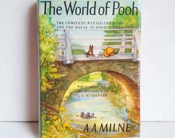 The World of Pooh * 1972 * Vintage Hardcover Dustjacket * A. A. Milne * Shepard * Winnie the Pooh * House at Pooh Corner * Excellent